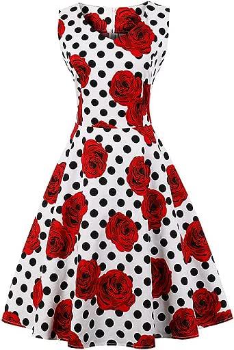 HWY Verano 80s Vestido Mujer algodón impresión Maxi Vestido hasta ...