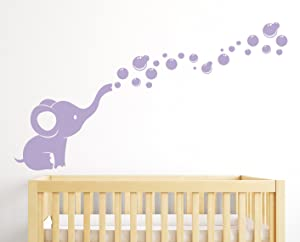 Elephant Bubbles Nursery Wall Decal Room Decor (Lilac)