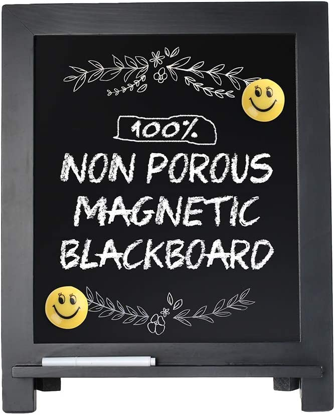 """Magnetic Chalkboard Sign, 15""""x12"""" Wood Framed Blackboard with Chalk Marker and 2PC Magnets, Rustic Chalk Board Easel for Menu Kitchen Wedding Farmhouse Décor, Tabletop or Wall Hanging Display"""
