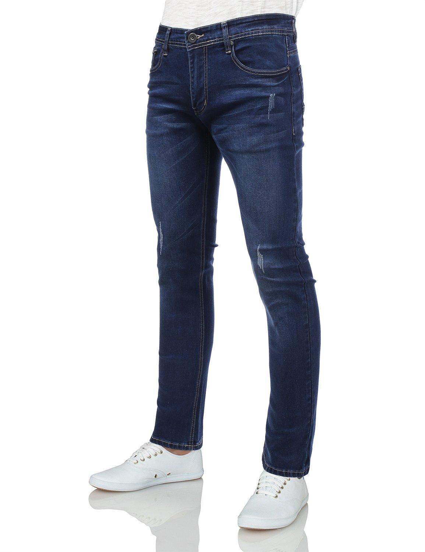 IDARBI Mens Basic Casual Cotton Skinny-Fit Jeans INKWASH 28/30