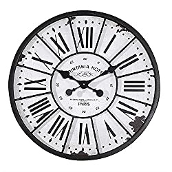 Parisian Hotel Turn Of The Century Roman Numeral Metal and Wood Wall Clock - 24-in