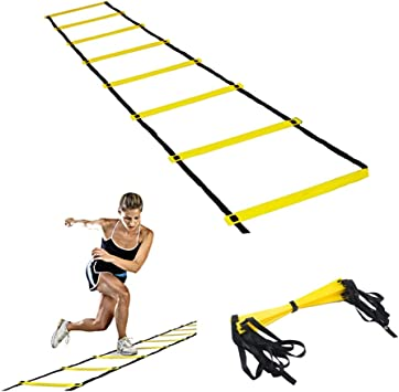 OWIKAR Escalera de Agility Velocidad y Agilidad de formación Escalera de Cuerda Ejercicio de pie para peldaños Escalera fútbol Deportes footworks taladros Mejorar la Fuerza física y destreza: Amazon.es: Deportes y aire
