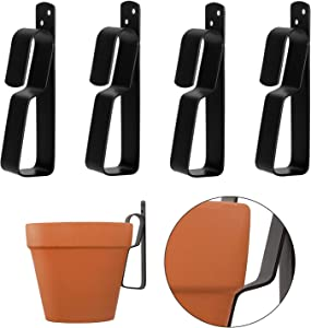 Metal Plant Hooks for Hanging 4-9Inch Terracotta Pots, Plant Hangers Outdoor Flower Pot Clips, Strong Plant Wall Hangers, 4 Pack