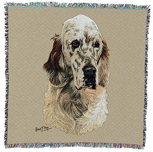 Setter English Tapestry (Pure Country Weavers - English Setter Dog Woven Blanket with Fringe Cotton USA 54x54)