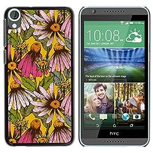 Caucho caso de Shell duro de la cubierta de accesorios de protección BY RAYDREAMMM - HTC Desire 820 - Floral Pattern Daisy Flowers Nature