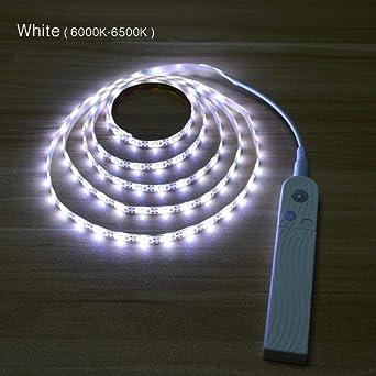 WYCYZJ Escaleras Luces nocturnas Energía de la batería Sensor de movimiento Luces LED para dormitorio Cocina Luz LED para TV Retroiluminación Iluminación para habitaciones de niños USB, 1M, blanco: Amazon.es: Iluminación