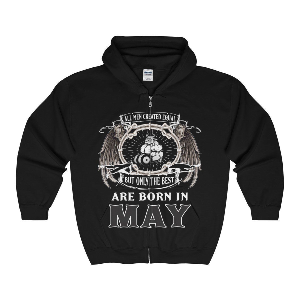 All Men Are Created Equal Best Born In May Birthday Unisex Zip Hooded Sweatshirt-Tee