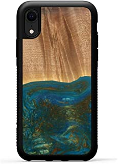 product image for Carved - Wood+Resin Case for iPhone XR - One-of-A-Kind, Protective Traveler Bumper Cover (ID: 115135, Teal & Gold)