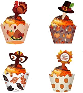 24 Pcs Thanksgiving Cupcake Toppers and Wrappers Decoration Set | Fall, Thanksgivin, Christmas Table Decorations | Cute desing with top hat and leaves, Food Picks Pumpkin Harvest Dinner Party Supplies