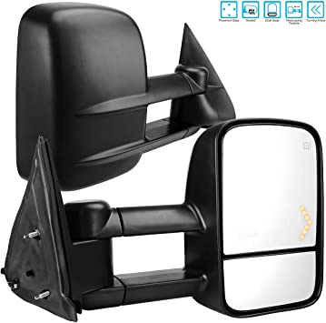 Towing Mirrors for 2007-2014 Chevy Silverado Tahoe Suburban Avalanche GMC Sierra Yukon with Power Glass Arrow Signal Light Heated Extendable Pair Set