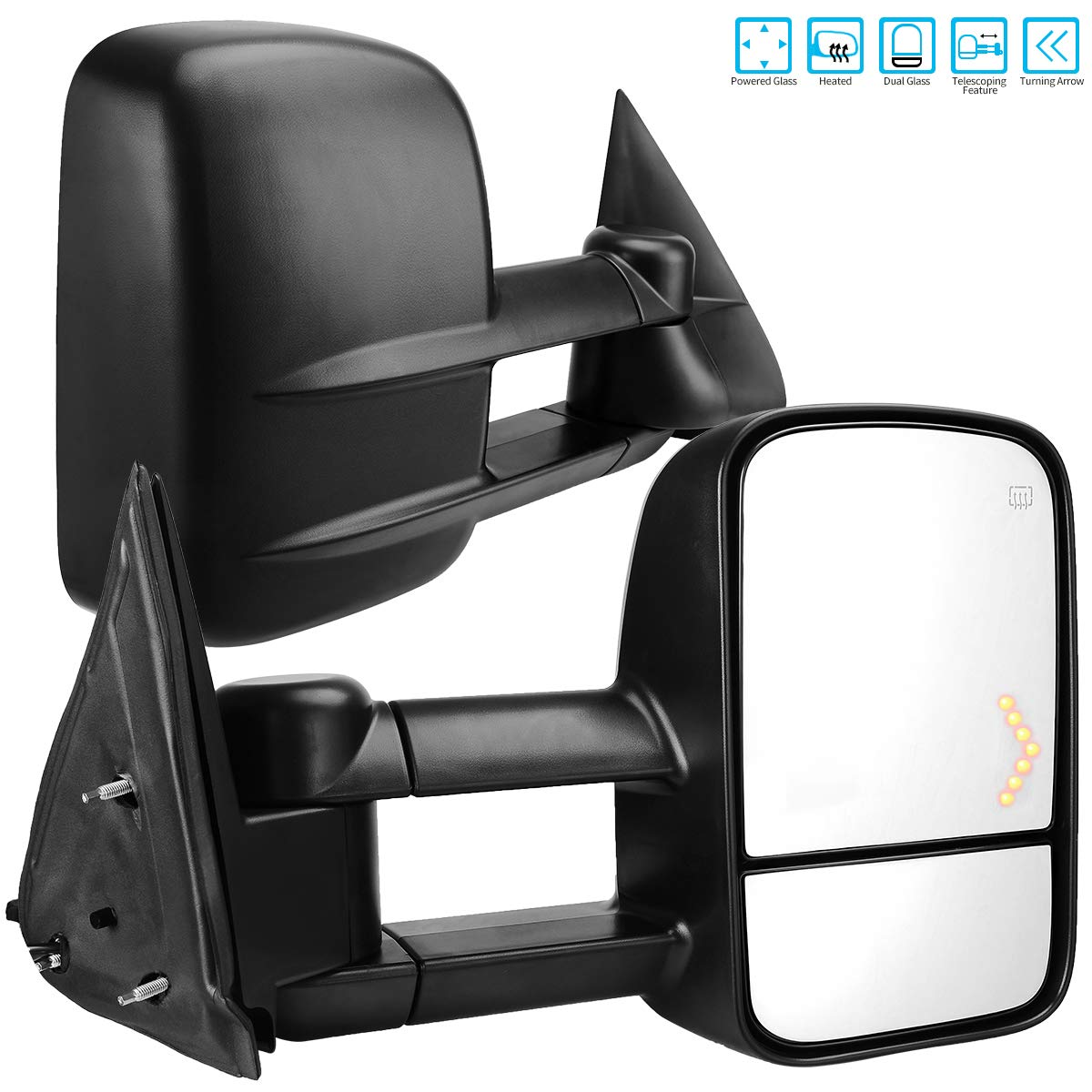 AUTOSAVER88 Towing Mirrors for 2003-2007 Chevy Silverado GMC Sierra 1500 2500 HD 3500, Power Heated Side View Tow Mirror for Tahoe Suburban Avalanche Yukon with Arrow Turn Signal Light by AUTOSAVER88