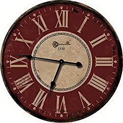 Red Large Wall Clock - Oversized Wall Clocks or Decorative Wall Clock