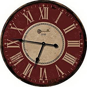 Amazon.com: Nora Lane, LLC Red Large Wall Clock ...