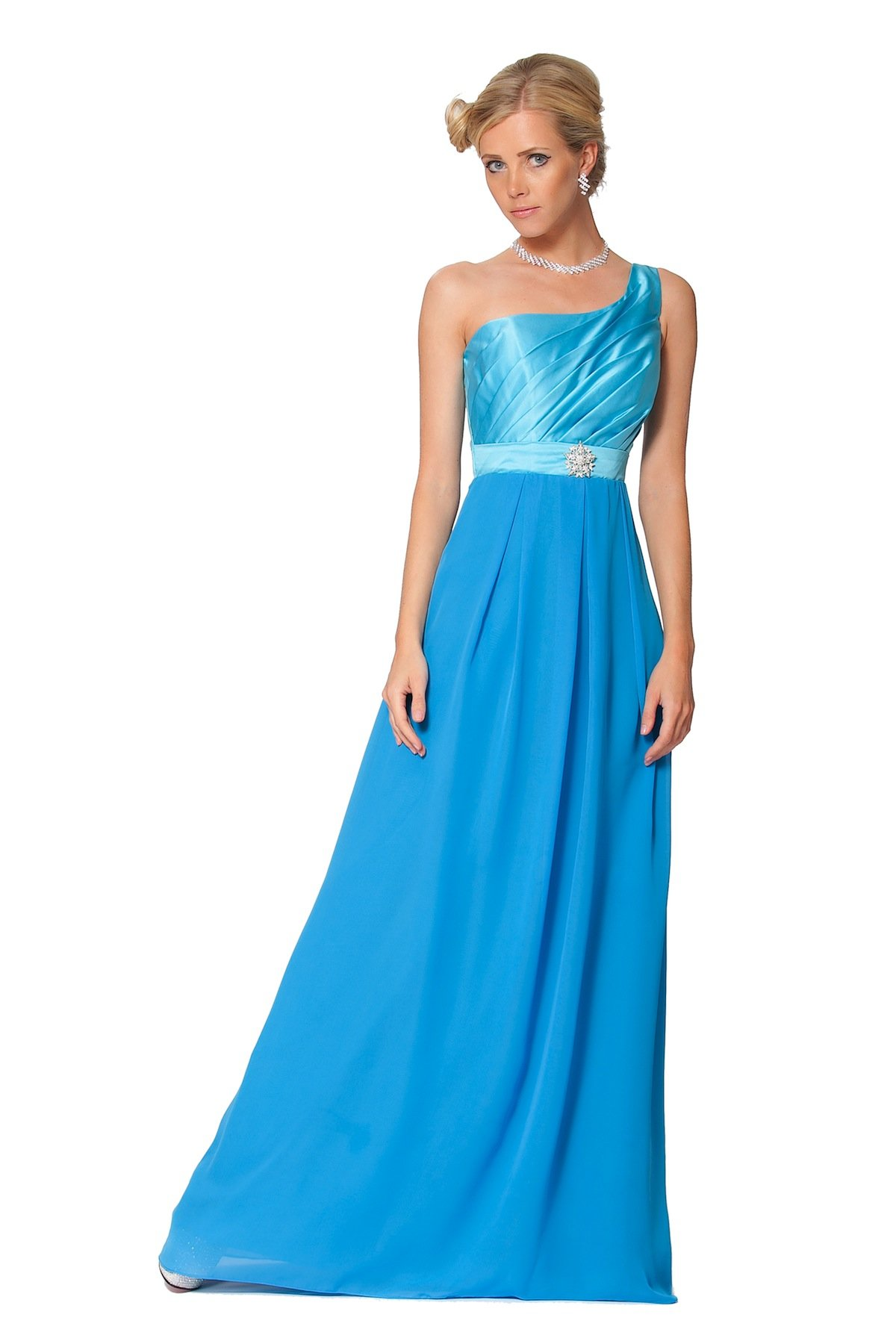 SEXYHER Elegant Roman Style One Shoulder Ruched Evening Bridesmaids Dress (UK22)