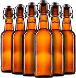 Finedine Swing Top Glass Beer Bottles 16 oz, with Zinc-Plated Steel Wire and Sealed Cap - High Grade Thick Durable Grolsch Bottles - For Brewing Beer Kombucha Kefir - Set of 6 … (Amber)