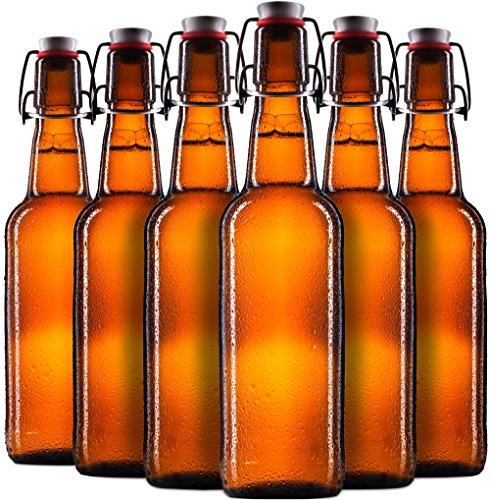 Microbrewery Kit (Finedine Swing Top Amber Glass Beer Bottles 16 oz, with Zinc-Plated Steel Wire and Sealed Cap - High Grade Thick Durable Grolsch Bottles - For Brewing Beer Kombucha Kefir -)