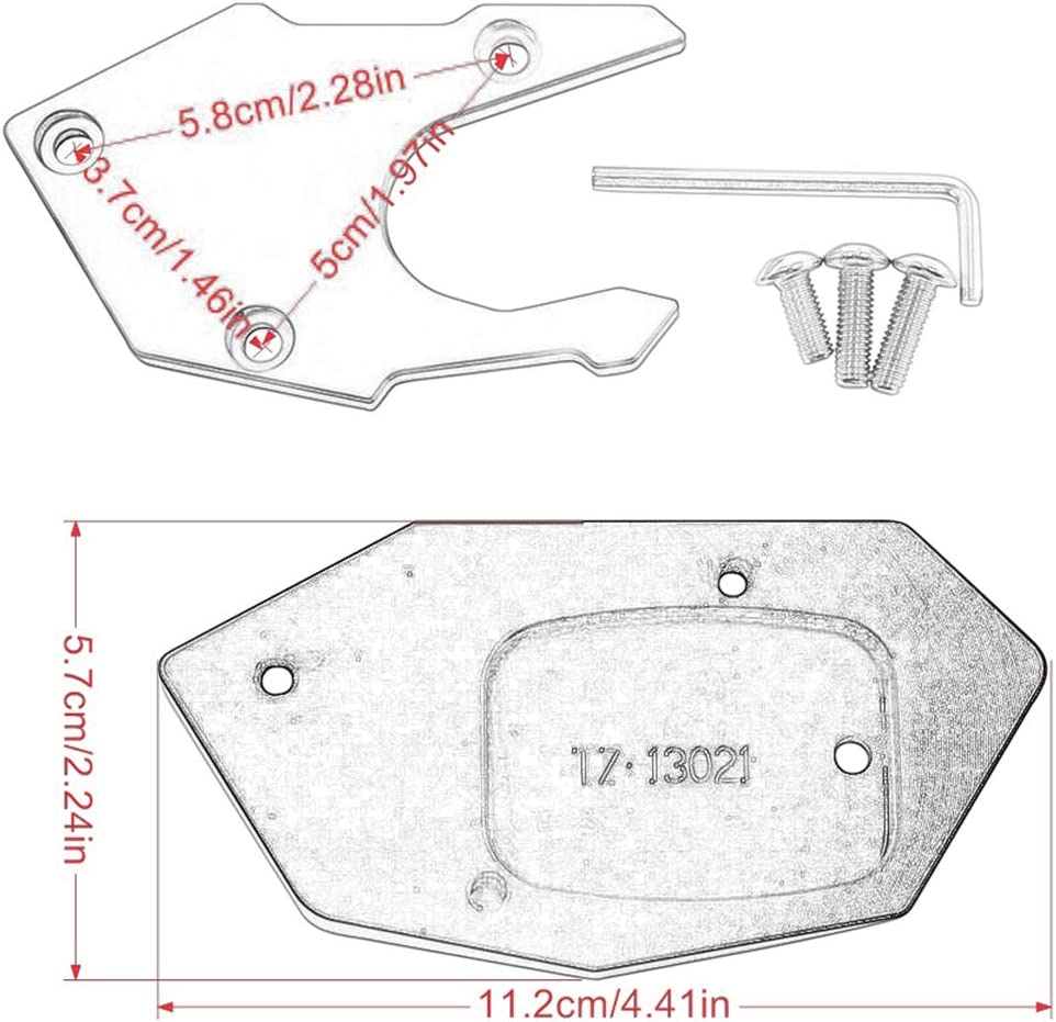 Red Hunter-Bike Motorcycle Kickstand Extension Pad Aluminum Foot Side Support Stand Plate For Honda CBR650R CB650R 2019 2020