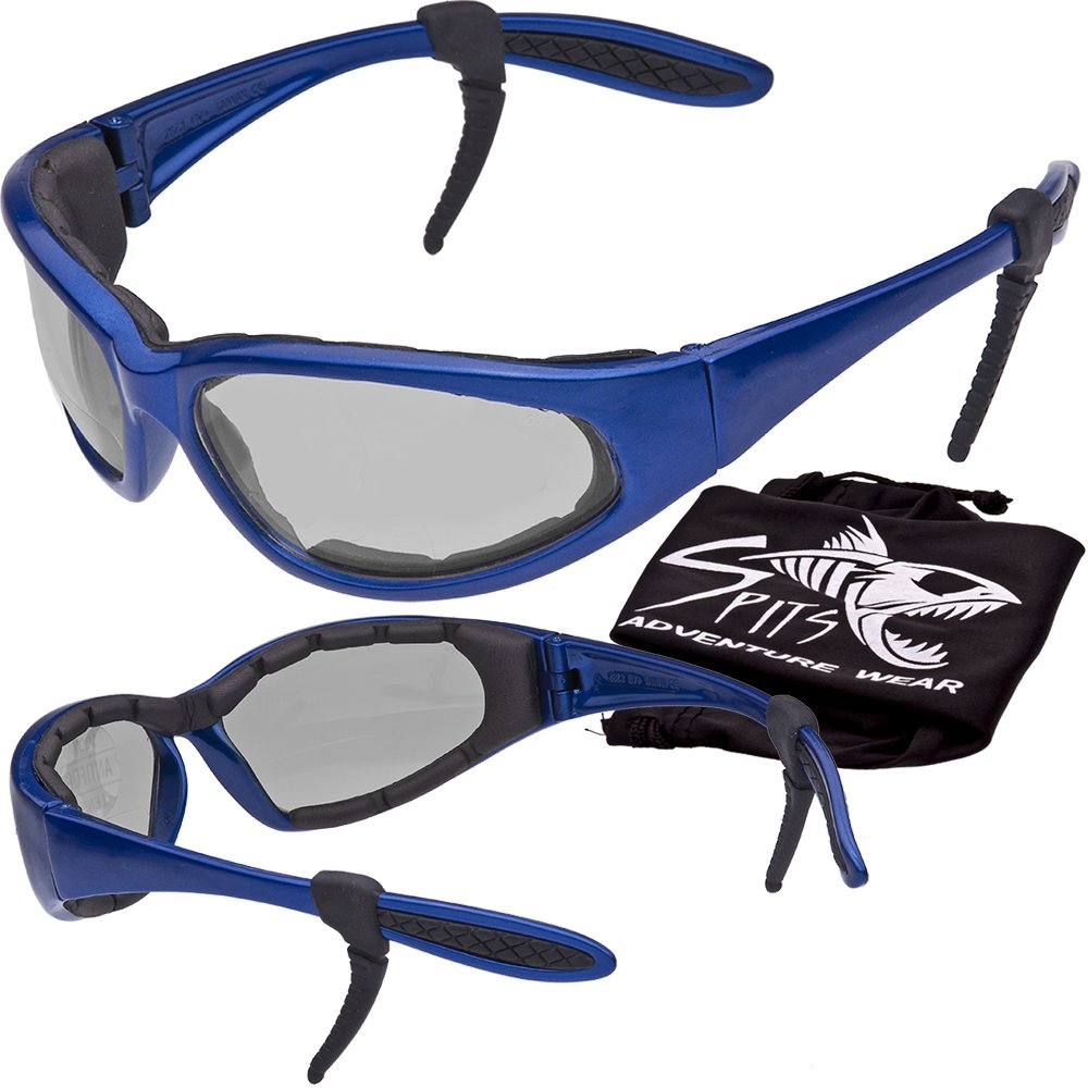 Hercules Safety Glasses ''Plus'' - Foam Padded - Rubber Ear Locks - BLUE Frame - CLEAR Lenses