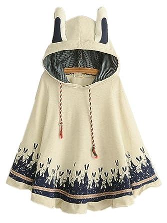 69663fc1b3e2 Aza Boutique Women s Cute Cotton Blend Rabbit Ears Hooded Cape ...