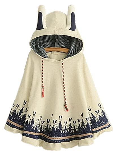 be3a70d76 Aza Boutique Women s Cute Cotton Blend Rabbit Ears Hooded Cape ...