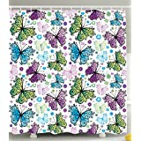 Ambesonne Butterfly Decorations by, Spring Summer Butterflies Daisies Hearts Pattern Art Print, Fabric Bathroom Shower Curtain, Green Purple Blue and White