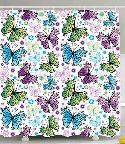 Butterfly Decorations by Ambesonne, Spring Summer Butterflies Daisies Hearts Pattern Art Print, Fabric Bathroom Shower Curtain, Green Purple Blue and White