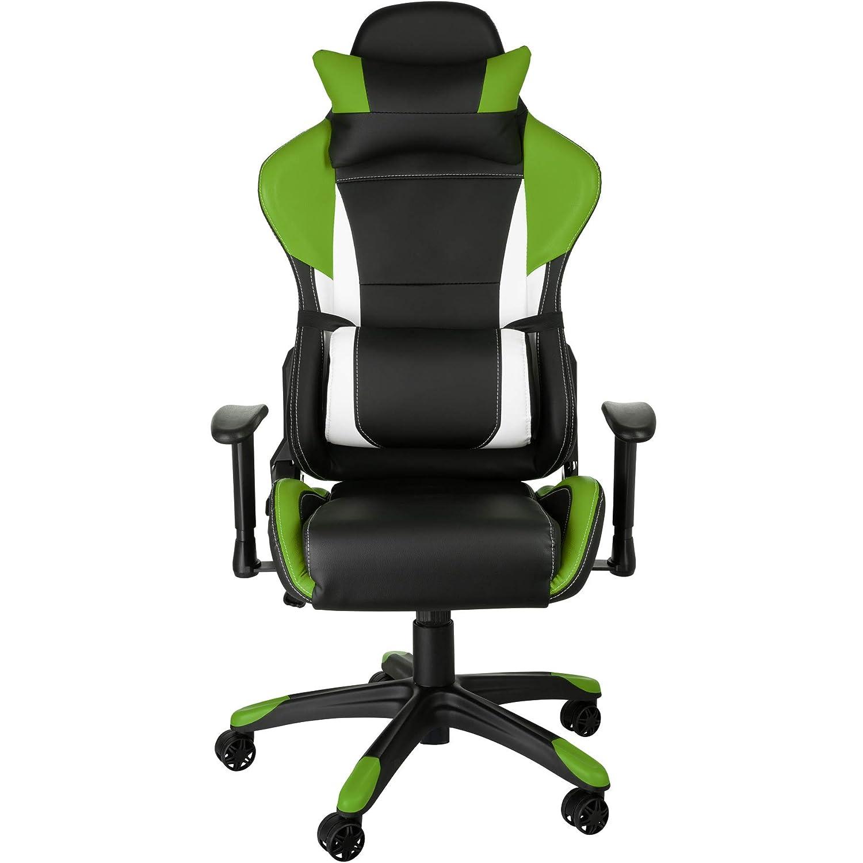 TecTake Silla de Oficina ergonomica Racing Gaming con Soporte Lumbar (Negro- Verde-Blanco | no. 402291): Amazon.es: Hogar