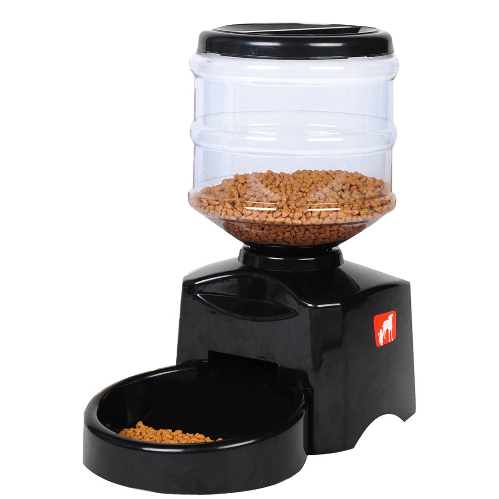 Automatic Feeder, meiying Large Automatic Cat Feeder Electric Pet Dry Food Container avec écran LCD for Dogs Cats hqclothingbox PET15-BLACK