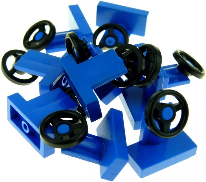 LEGO Parts: Lego Parts: Blue Vehicle Steering Stand 1 x 2 with Black Steering Wheel - Lot of 10 Loose