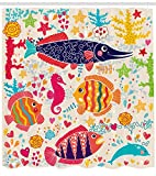 ABAKUHAUS Sea Animals Shower Curtain, Cartoon Art with Fish Seahorse Starfish Dolphin Coral Underwater Life KidsCloth Fabric Bathroom Decor Set with Hooks, 75 Inches, Multicolor