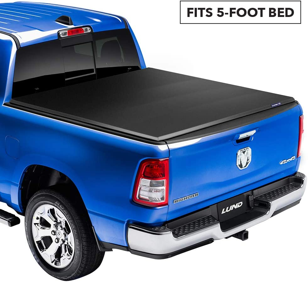 Lund Genesis Elite Tri-Fold, Soft Folding Truck Bed Tonneau Cover   95890   Fits 2005 - 2020 Nissan Frontier (with factory side bed rail caps only) 5' Bed