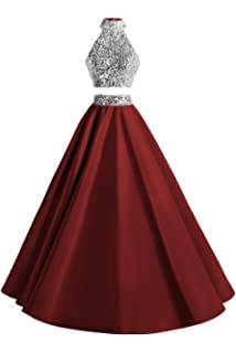 2adde59eb36 MsJune Women Two Piece Prom Dress Beaded Long Party Gowns Evening Dresses