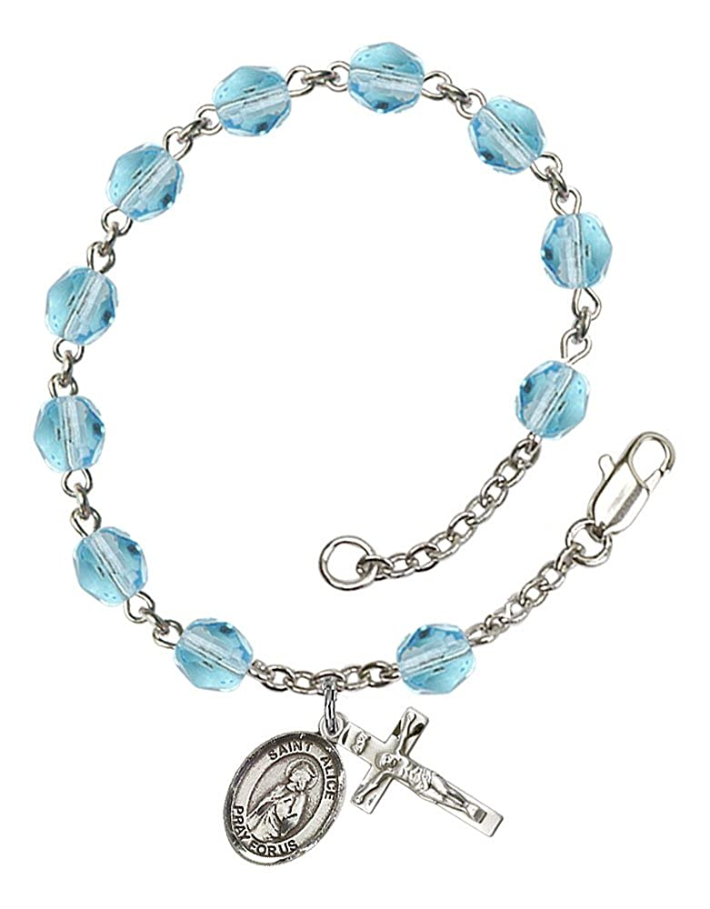 Patron Saint Blind//Paralyzed The charm features a St The Crucifix measures 5//8 x 1//4 Alice medal Silver Plate Rosary Bracelet features 6mm Aqua Fire Polished beads