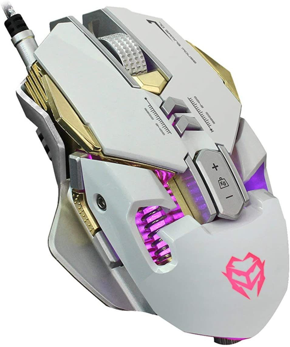Gaming Mouse Wired with 6 Programmable Buttons Color Breathing Used for Games and Office High Precision Metal Base