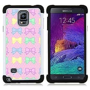 For Samsung Galaxy Note 4 SM-N910 N910 - polka dot pink yellow green bowtie Dual Layer caso de Shell HUELGA Impacto pata de cabra con im????genes gr????ficas Steam - Funny Shop -