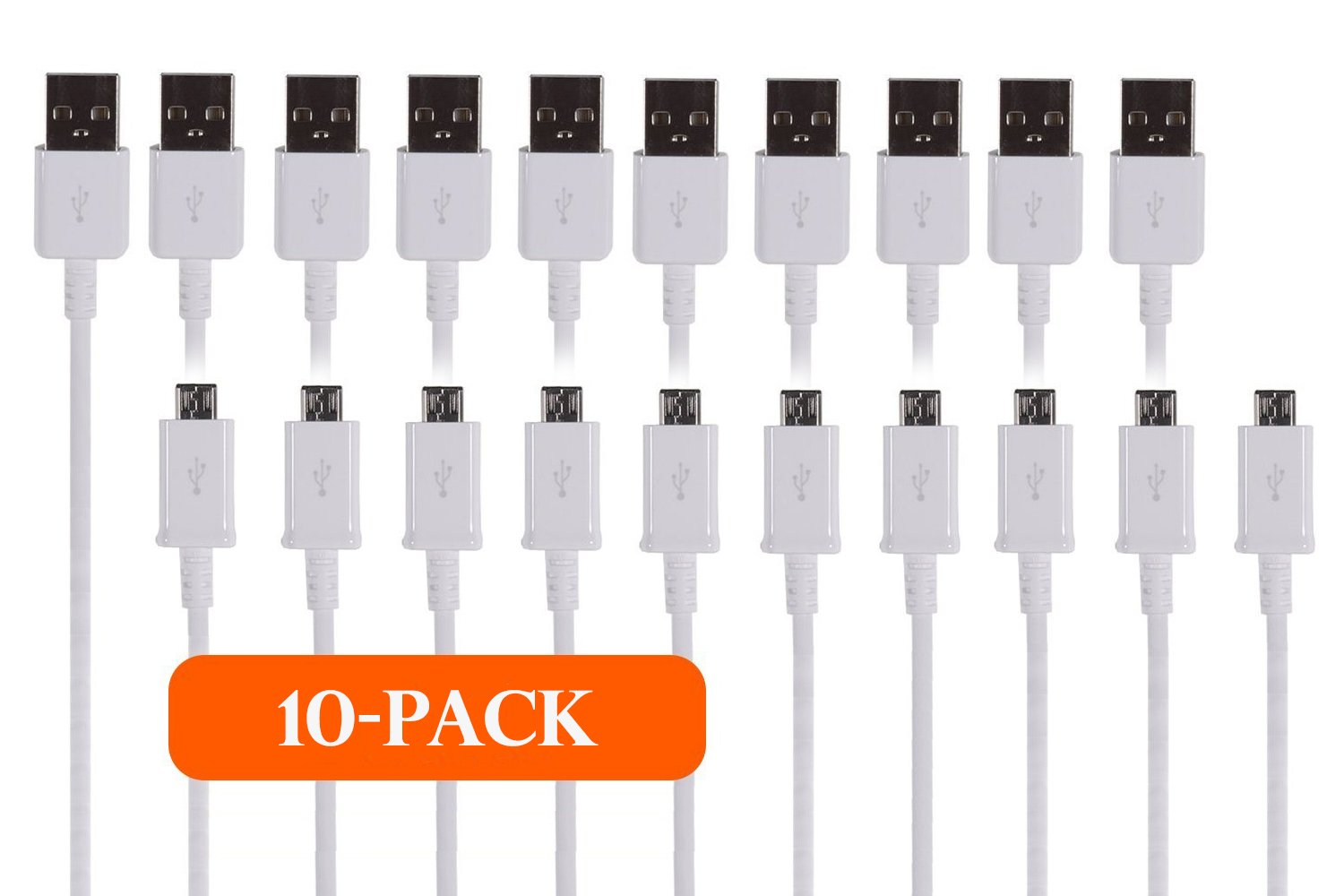 TekSonic 10-Pack Micro USB Cable Wholesale Lot (Bulk Discount) - 1 M/3.3 ft Universal Charging Sync and Charge Micro USB to USB A cords, Data cable for Samsung Galaxy, HTC, LG, Android, Windows Phone by tekSonic