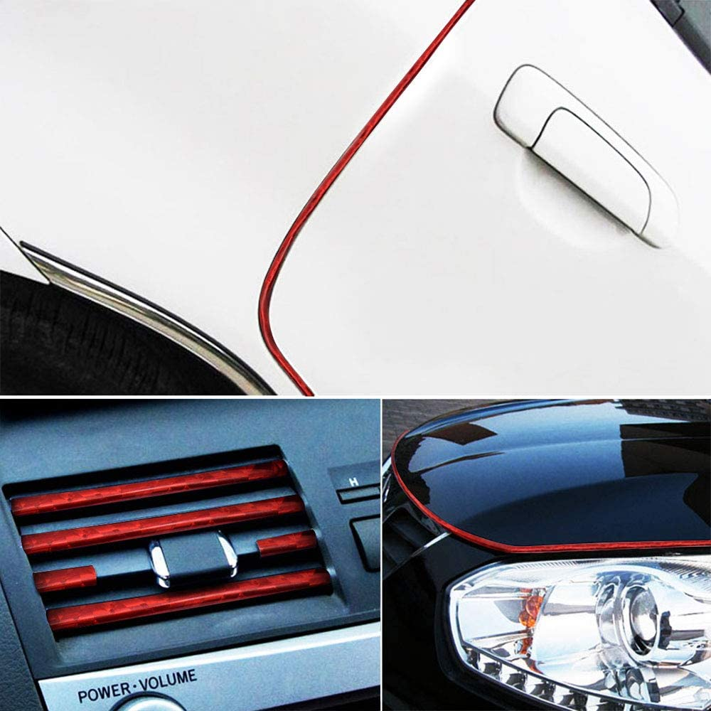 Ceyes Car Interior Trim Strips U Shape Flexible Car Decoration Silver Trim Strips Car Interior Moulding Trim Chrome Line Car Interior Seal Protector for Air Vent Grille Switch Rim Trim Outlet Blade-8M