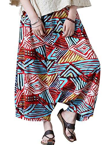 Youlee Damen Sommer Elastische Taille Hose mit tiefem Schritt Haremshose Stil 1 Blau