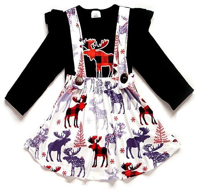 Amazon.com: Juego de 2 faldas de reno para niñas pequeñas ...