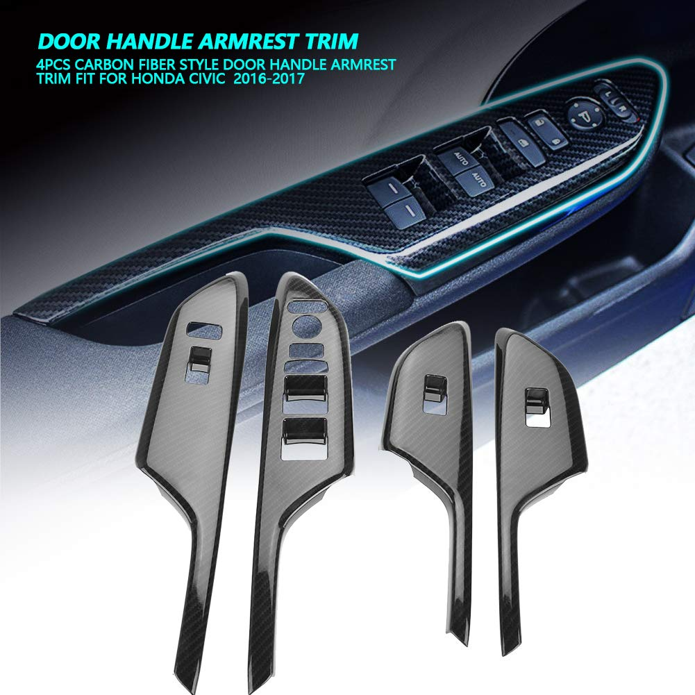 4 PCS Carbon Fiber Style Door Handle Armrest Trim Fit For Honda Civic 2016-2017 Door Handle Armrest Stripe Cover Trim