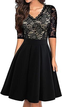 Generic Womens Pleated Swing Fashion Short Sleeve Deep V Neck Party Long Dress