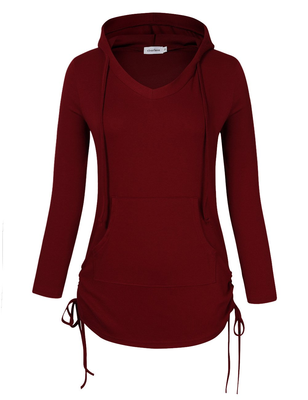 Clearlove Women's V Neck Long Sleeve Sweatshirts Pullover Hoodie Gym Shirt with Kangaroo Pocket - Wine Red X-Large