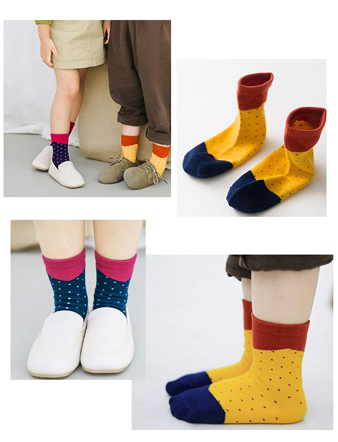 Kids 5 pack 1-10years Fashion Crew Seamless Socks for girls,Toddlers