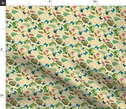 Rainforest Creatures Fabric - Canopy Plants And Animals Gecko Dart Frog Jungle Lizard Bucketfeet Blue Morpho Print on Fabric by the Yard - Sport Lycra for Swimwear Performance Leggings Apparel Fashion