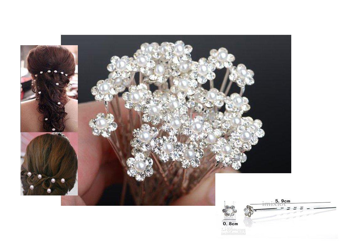 12 pingles cheveux coiffure mariage bijoux de cheveux fleur perle et cristal amazonfr beaut et parfum - Epingle Cheveux Mariage