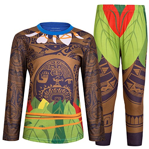 HenzWorld Pajamas for Boys Girls Moana Maui Costumes Long Sleeve Sleepwear Baby Cosplay Blue