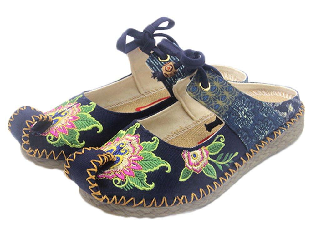 Soojun Women's Chinese Style Oxfords Sole Aladdin Walking Slipper, US 8, Blue