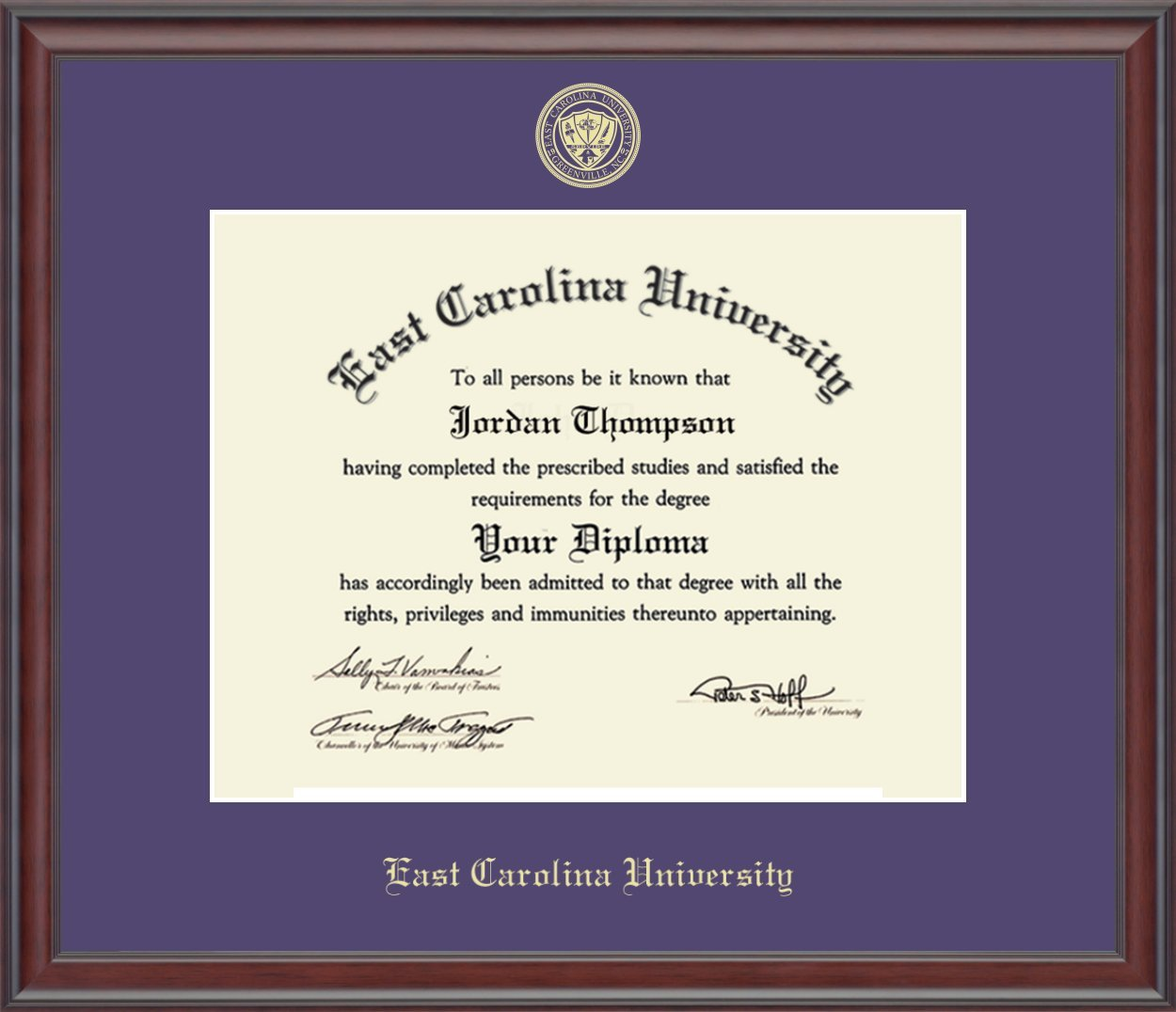East Carolina University Gold Embossed Diploma Frame - Features Solid Hardwood ''Studio'' Moulding - Officially Licensed - 11''h x 14''w Diploma Size - By Church Hill Classics by Church Hill Classics