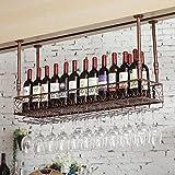 Warm Van 47.2''L Hanging Wine Rack, Bar Wall Shelf Glass Bottle Holder Storage Shelves Cabinet Drawers Adjustable (bronze)