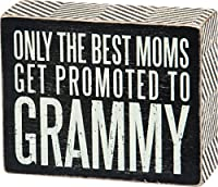 Primitives by Kathy Box Sign, Promoted to Grammy, 4 by 5-Inch
